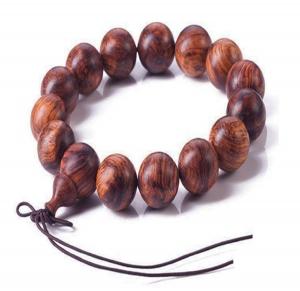 Vòng tay phong thuỷ gỗ Sưa đỏ 14li để mộc - Phong thuỷ của danh tiếng và quyền lực