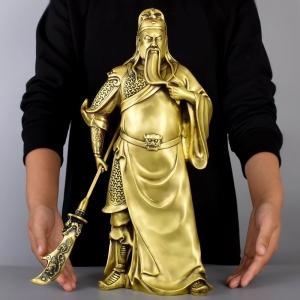 Tượng quan công Vân Trường vuốt râu cỡ đại bằng đồng thau phong thủy Hồng Thắng