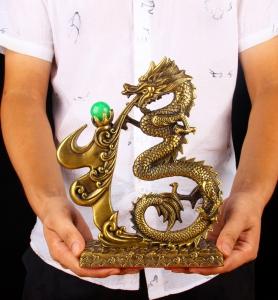 Tượng rồng chữ phúc băng đồng thau phong thủy Hồng Thắng