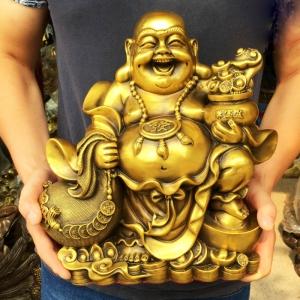 Tượng Phật Di Lặc kéo bao tiền bằng đồng thau phong thủy Hồng Thắng