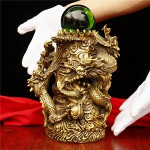 Tượng linh vật rồng ngũ long tranh châu bằng đồng thau phong thủy Hồng Thắng