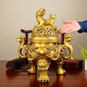 Đỉnh đồng lư hương đúc nổi 3d bằng đồng thau đồ thờ phụng cao cấp Hồng Thắng