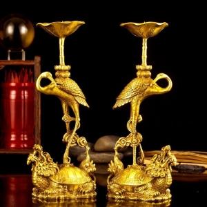 Đôi hạc thờ đúc nổi 3d bằng đồng thau cỡ trung đồ thờ phụng cao cấp Hồng Thắng