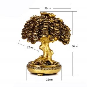 Tượng cây tiền vàng cỡ đại bằng đồng thau phong thủy Hồng Thắng