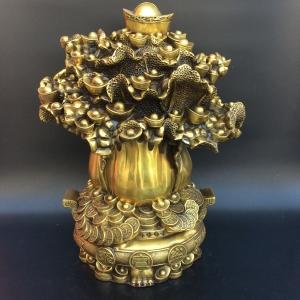 Tượng cây cải tiền vàng bằng đồng thau phong thủy Hồng Thắng